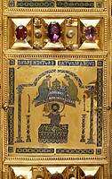 Episode in the life of St Mark, Pala d'Oro (Golden Pall) altarpiece, St Mark's Basilica, Venice. Goldsmith art, Italy, 12th-14th century. Detail.