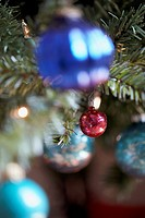 Christmas ornaments hanging on tree