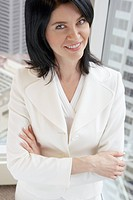 Businesswoman in white suit
