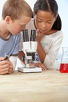 Children using a microscope