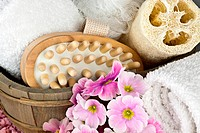 pink flowers brush and sponge for wellness in a beauty spa