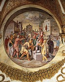 Itinerant seller of antidote against snake bites, fresco by Giulio Romano (ca 1499-1546), Hall of Medallions, Palazzo Te, Mantua (UNESCO World Heritag...