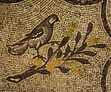 Bird on a flowering branch, Allegory of Eternal Life, mosaic floor, Patriarchal Basilica of Santa Maria Assunta (UNESCO World Heritage List, 1998), Aq...