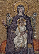 Enthroned Virgin and Child with angels, mosaic, north wall, Basilica of Sant´Apollinare Nuovo UNESCO World Heritage List, 1996, Ravenna, Emilia_Romagn...