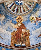 Christ Pantocrator Enthroned, 1072-1078, detail of Byzantine-Campanian school frescoes, apse half-dome of the Basilica of Sant'Angelo in Formis, Sant'...