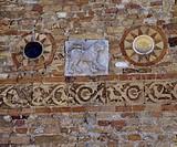Atrium facade, Benedictine Abbey, Pomposa, Emilia-Romagna. Detail. Italy, 11th century.