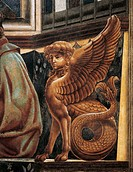 The Sphinx, detail from the Last Supper fresco, by Andrea del Castagno (1421-1457), 1450, in the refectory, Convent of St Apollonia, Florence. Italy, ...