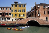 kayak trip on Rio Misericordia in Cannaregio district, Venice, Veneto region, Italy, Europe