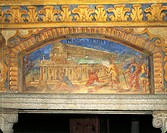 Depiction of Diana's temple at Ephesus, ca 1669, by Nikolaus Schiel, Well of Wonders fresco frieze, main courtyard, Augustinian Abbey of Neustift, Var...