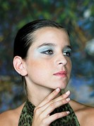 Girl Wearing Blue Eye Shadow
