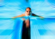 Swimmer Using Butterfly Stroke