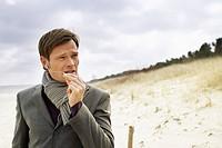 Man Speaking on a Telephone Headset