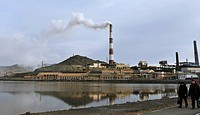 Chelyabinsk. A view of part of the Karabashmed copper producing plant at Karabash, Russia. Mining and the treatment of the ore has led to the worst ec...