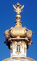 Domes of Peterhof Petrodvorets Palace, UNESCO World Heritage List, 1990, near St Petersburg. Russia, 18th century.