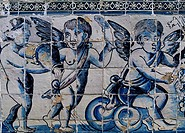 Angels, Glazed tiles in the Palace of the Marquesses of Fronteira. Portugal, 17th century.