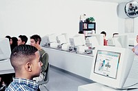 Students working in a computer room
