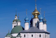 Detail of the domes of Spaso-Jakovlevskij Monastery, Rostov, Russia.