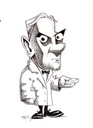 Alexander Fleming 1881_1955. Caricature of the Scottish biologist and pharmacologist Alexander Fleming holding a Petri dish. Fleming is best known for...