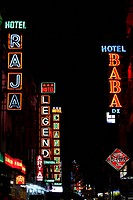 Neon Light of Hotels ; Arakasa road ; New Delhi ; India