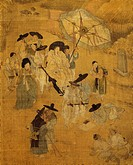 Walk of a notable figure, detail on screen with eight panels depicting moments of everyday life signed by Kim Hong-do (1745-1814), ink and colours on ...