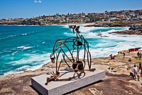 Sculpture by the Sea, annual exhibition at the Bondi - Tamarama coastal walk  Sculpture title: 'Salacia' keep an eye on the sea by James Rogers