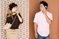 Woman and man having telephone conversation