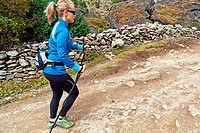 Woman nordic walking