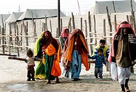 Pilgrims , devotees arrive at the confluence of the Ganges , Yamuna the mythical Saraswati rivers to take a holy dip during the Ardh Kumbh Mela , , , ...