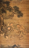 Three immortal figures dancing around a toad, by Liu Chun, painter of the Ming school, China. Chinese Civilisation, Ming dynasty, Hung-chih reign, 15t...