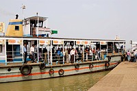 Ferry boat crossing Hooghly river near Howrah , Calcutta , West Bengal , India