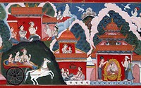 King Manicuda departing for city, Padmavati becomes pregnant and gives birth to Prince Padmottara, later anointed king, detail from Swayambhu Purana, ...