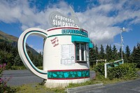 Giant coffee cup roadside coffee stand, Seward, Alaska, USA
