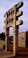 Gate of the Stupa III in Sanchi (UNESCO World Heritage List, 1989), India. Indian civilization, 1st century BC.