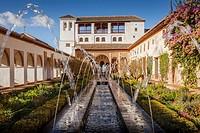 Patio de la Acequia courtyard of irrigation ditch  El Generalife  La Alhambra  Granada  Andalusia