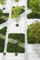 High angle view of manicured hedges in a formal garden