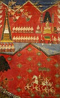 Episodes of Buddha's life, painting on silk, Thailand. Thai Civilisation, 17th-18th centuries.  Paris, Musée National Des Arts Asiatiques Guimet (Orie...