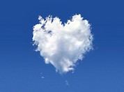 Heart_shaped cloud, computer artwork.