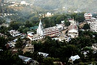 View of Church  from circuit house at Halflong ; Assam ; India