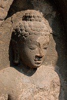 Ruined statue of Buddha in cave 9 , Ajanta , Aurangabad , Maharashtra , India