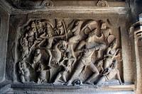 Devi Durga fighting Mahisasura ; Mahushamardani Mandapam ; Mamallapuram ; Tamil Nadu ; India