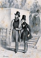 Henri de Latouche (Indre, 1785-Paris, 1851) with George Sand (Paris, 1804-Nohant-Vic, 1876) a female student in Paris dressed in men's clothing. Engra...