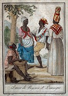 Indigenous folk dance, engraving. Santo Domingo, 18th-19th century.  Paris, Musée National Des Arts Africains Et Oceaniens (Art Museum)