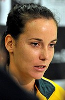 Australian Jarmila Gajdosova is seen at a press conference prior to the 1st round Fed Cup match between Czech Republic and Australia in Prague, Februa...