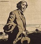 Portrait of Sir Henry Irving, pseudonym of John Brodbribb (1838-1905), British actor. Woodcut by William Nicholson (1872-1949).