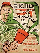 Poster for Bichou Tu Bouscules le Pot de Fleurs, operetta, libretto by Barencey and Strutt, with music by Eugene Gavel. Published by Max Eschig, Paris...