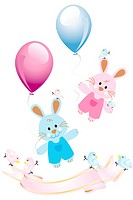 Cute rabbits with balloons and birds