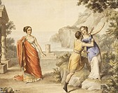 Scene from Sappho, play by Franz Grillparzer (1791-1872), watercolour, 19th century.  Vienna, Historisches Museum Der Stadt Wien (History Museum)