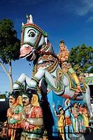 Colourful statues