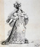 Sketch of the stage costume of the character Emilia by Cinna by Pierre Corneille (1606-1684). Engraving, 17th century.  Paris, Bibliothèque Des Arts D...