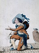 The actor Joseph-Jean-Baptist Albouy, known as Dazincourt (1747-1809) in the role of Figaro in The Barber of Seville or the useless precaution, 1775, ...